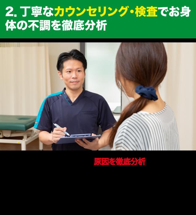 丁寧なカウンセリング・検査でお身体の不調を徹底分析